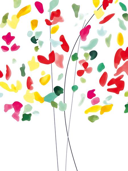 Tableau fleur colorée moderne déco murale contemporaine