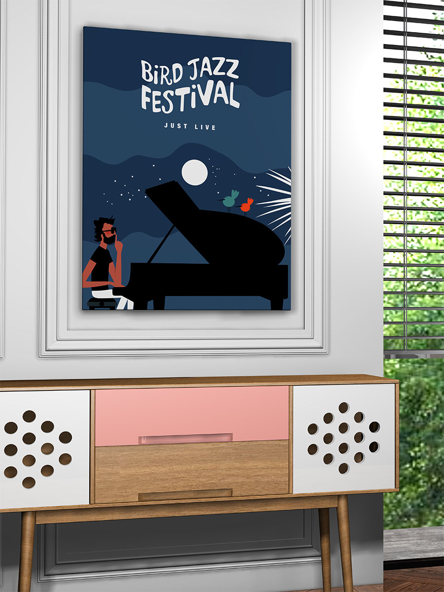 Poster jazz festival pianiste jazzman musique birds