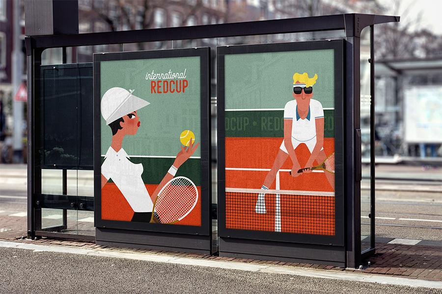 Poster tennis man roland garros terre battue