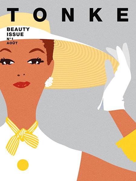 Affiche couverture magazine de mode vintage