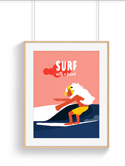 Affiche surf dog