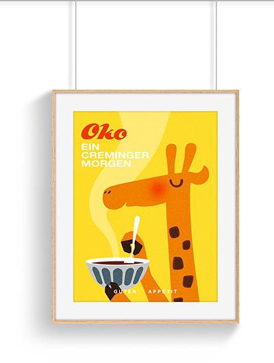 Affiche cuisine girafe vintage petit déjeuner