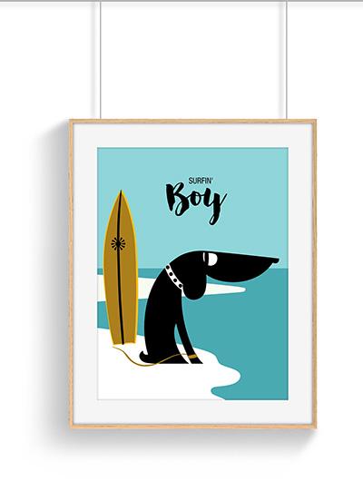 Affiche surfin dog